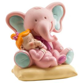 Figurine d'Éléphant avec Bébé Fille 10 cm