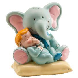 Figurine d'Éléphant avec Bébé Garçon 10 cm