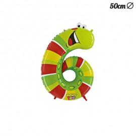 Ballon en Mylar Chenille Numero 6 50 cm