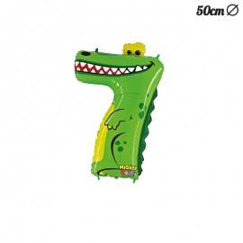 Ballon en Mylar Crocodile Numero 7 50 cm