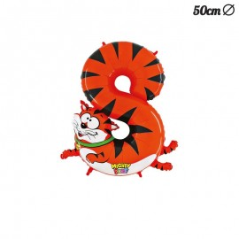 Ballon en Mylar Tigre Numero 8 50 cm