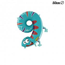 Ballon en Mylar Salamandre Numero 9 50 cm
