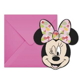6 Invitations Minnie Tropical