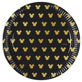 8 Assiettes Mickey Gold 20 cm