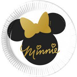 8 Assiettes Minnie Dorées 20 cm