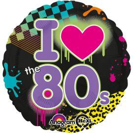 Ballon I Love Années 80 en Aluminium