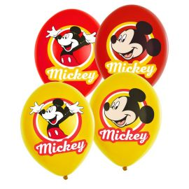 6 Ballons Mickey Mouse en Latex Rouge et Jaune