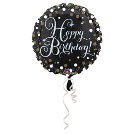 Ballon Mylar Happy Birthday Élegant Doré