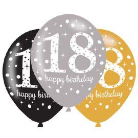 6 Ballons Élegants 18 Ans Roses Happy Birthday 28 cm