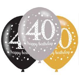 6 Ballons Happy Birthday Élegants Dorés 40 Ans 28 cm