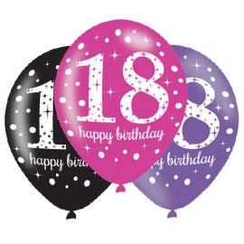 6 Ballons Happy Birthday Elegant 18 ans Rose 28 cm