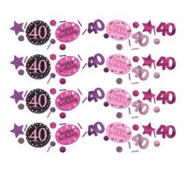 Confettis Élégants et Roses Fête 40 Ans
