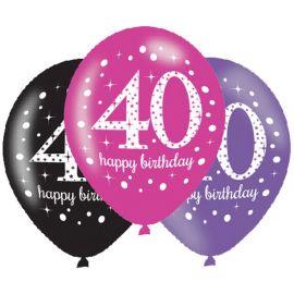 6 Ballons Happy Birthday Élégants et Roses 40 ans 28 cm