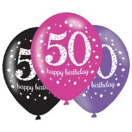 6 Ballons Happy Birthday Élégants et Roses 50 Ans 28 cm