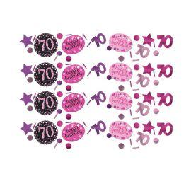 Confettis Élégants et Roses Fête 70 Ans