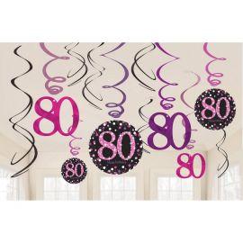 12 Pendentifs 80 Ans Elegant Rose