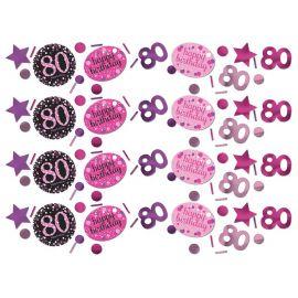Confettis Elegant Rose pour Célébration 80 Ans