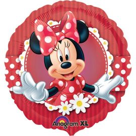Ballon Minnie Mouse Rouge à Paillettes Rond