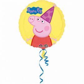 Ballon Brillant Rond Peppa Pig avec Chapeau