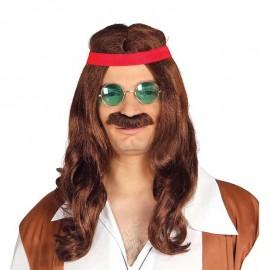 Perruque de Hippie avec Moustache
