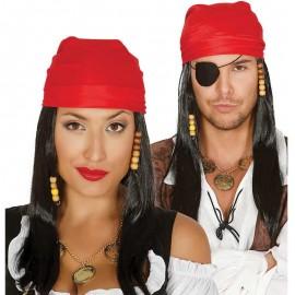 Perruque de Pirate Noire avec Bandana Rouge