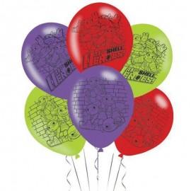 6 Ballons Tortues Ninja en Latex