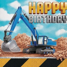 16 Serviettes Thème Construction Happy Birthday