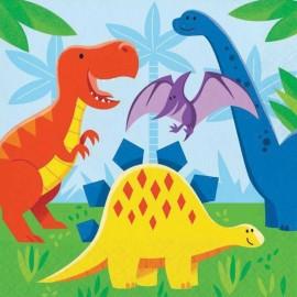 16 Serviettes 32 cm Dinosaures
