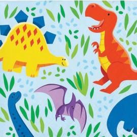 16 Serviettes Dinosaures 25 cm