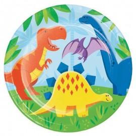8 Assiettes Dinosaures 22 cm