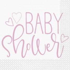 16 Serviettes Baby Shower Fille 33 cm