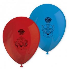 8 Ballons Pat Patrouille en latex Rouge et Bleu