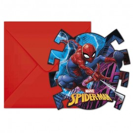 6 Invitations Spiderman en forme d'Araignée
