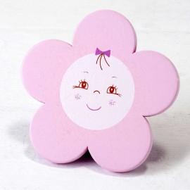 3 Magnets Fleurs en Bois Rose 8 cm