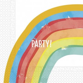 20 Serviettes Rainbow Party de 33 cm