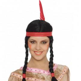 Perruque Indienne avec Tresses, Ruban et Plume