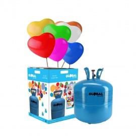 Bouteille d'Hélium Petite avec 30 Ballons Coeurs