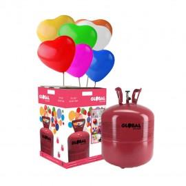 Grande Bouteille d'Hélium avec 50 Ballons Coeur