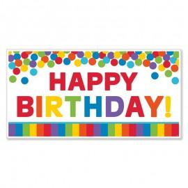 Fond Happy Birthday Arc-en-ciel 165 x 85 cm