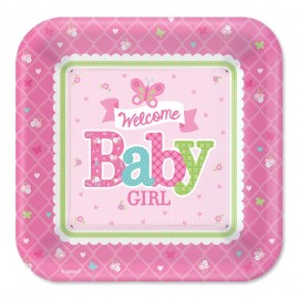 8 Assiettes Welcome Baby Girl 26,6 cm