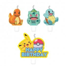 4 Mini Bougies Pokémon 5,5 et 7,8 cm