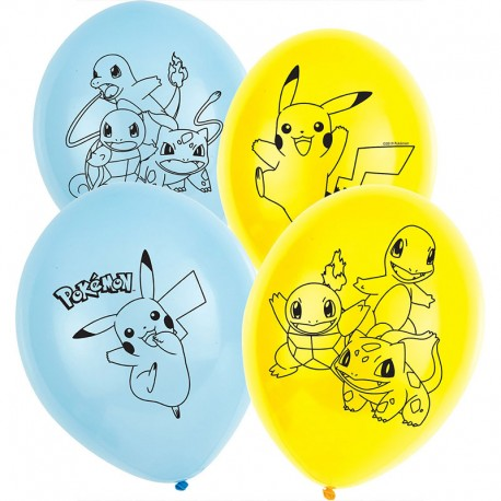 6 Ballons Pokémon en Latex 28 cm