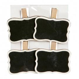 Sachet 4 Ardoises 5x3,5 cm avec Pince