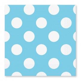 16 Serviettes à Pois Blancs 33 cm