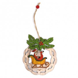 Pendentif en Bois Père Noël Traîneau 12 cm