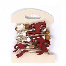 Guirlande Cerfs Rouges en Bois 200 cm