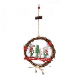 Couronne en Osier Merry Christmas 18 cm