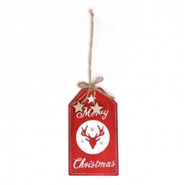 Pendentif Joyeux Noël Bois Rouge 15 cm