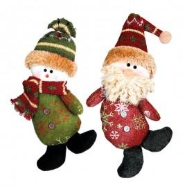 Père Noël Et Bonhomme de Neige 20 cm