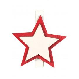 9 Pinces Étoiles Bois 45 cm